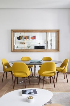 Exciting Mid Century Small Dining Room Design And Decor Ideas Living Room Modern, Living Room Decor, Yellow Dining Chairs, Accent Chairs, Dining Room Lighting, Small Dining, Dining Room Design, Dining Rooms, Contemporary Decor