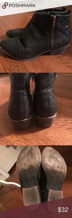 Steve Madden black booties Gently worn Steve Madden black booties. Great condition--super trendy! Steve Madden Shoes Ankle Boots & Booties
