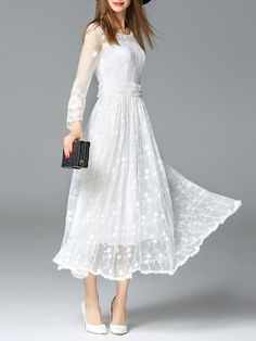 White Long Sleeve Floral Mesh Swing #Maxi #Dress
