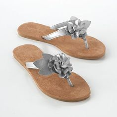 silver flip flops with flowers to wear at my party