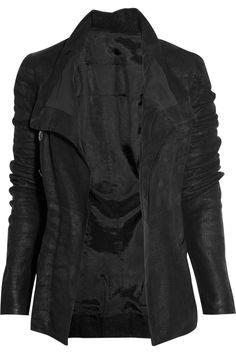 Rick Owens asymmetric textured leather biker jacket