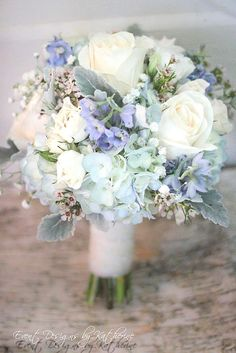 pretty white, blue, and lavender bridal bouquet