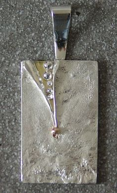 Contemporary textured sterling silver pendant with slash #sterlingsilverjewelrynecklace