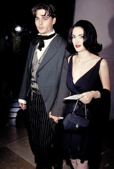 """Johnny Depp and Winona Ryder at the 48th Annual Golden Globe Awards, January 19, 1991 """""""