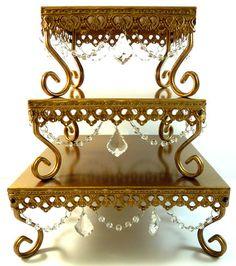 Set of 3 Gold Square Jeweled Cake Base Cupcake Stand Wedding Opulent Treasures | eBay