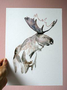 ORIGINAL Moose Watercolor painting - Moose ART Watercolor Animal Painting - Moose illustration Zen Art Home Decor Wall Decor