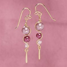 Shades of Pink Pearl Earrings
