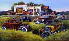Artist Dale Klee Unframed Classic Hot Rod Car Print The Welding Shop   WildlifePrints.com