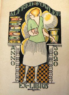 ≡ Bookplate Estate ≡ vintage ex libris labels︱artful book plates - Ex libris by Antonio de Guezala designed for Alfred Fowler in 1920
