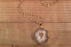 Druzy Slice and Labradorite Necklace by ElidaCreations on Etsy