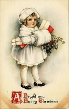 Vintage girl with muff and presents for Christmas.