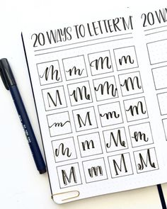 My finished spread of 20 M's! Who has a name that starts with M? Hand Lettering Alphabet, Doodle Lettering, Creative Lettering, Calligraphy Alphabet, Typography Letters, Brush Lettering, Lettering Design, Caligraphy, Bullet Journal Font