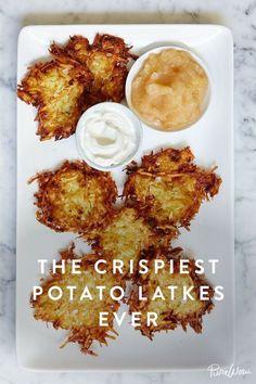 The Crispiest Potato Latkes. Ready the sour cream and applesauce.