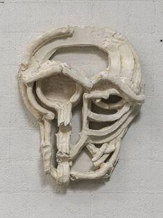 michaelswaney:  THOMAS HOUSEAGO,Roman Masks III, 2013.Tuf-Cal, hemp, iron rebar,251/2 x 221/16 x 611/16 inches (64.8 x 56 x 17cm)