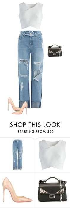 """""""Untitled #1935"""" by quaybrooks on Polyvore featuring SJYP, Chicwish, Christian Louboutin and Fendi"""