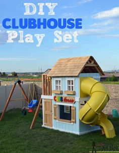 The perfect solution to keep the kids playing outside for hours, check out that fun slide.  Build a DIY Clubhouse Play set with tutorial and play set plans. Build A Playhouse, Outside Playhouse, Kids Playhouse Plans, Playhouse Outdoor, Outdoor Play, Outdoor Decor, Playset Diy, Kids Cubbies, Tool Belt