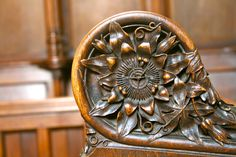 Carving detail inside the chapel at Exeter College. Exeter is the site of many of our summer schools.