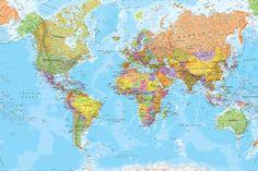 Nuestro mural del mapa del mundo poítico es un mapa increíblemente detallado al estilo de los libros de texto y lleno de vivos colores que sin duda transformarán unas paredes apagadas en un elemento decorativo maravilloso para tu casa.