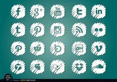 White social media icons pack  *Free Vector