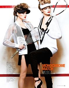 visors - sporty: nathalia oliveira and alana w by takaki kumada for elle japan may 201...