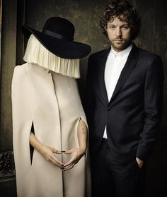 Sia & husband Erik Anders Lang photographed by Mark Seliger at the 2015 Vanity Fair Oscar Party.