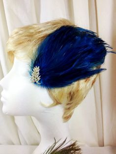 Teal rooster feather and crystal hair fascinator by MAsMadHouse, $20.00
