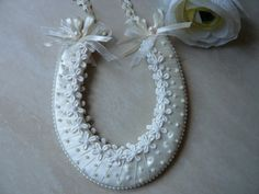 Wedding Horseshoe in Ivory with Lace Flowers by TheDreamingHare, £16.95