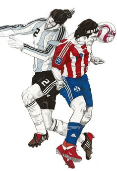 World Cup Soccer - Argentina x Paraguay - Original Signed Paul Nelson-Esch - Drawing Art Illustration - Free Worlwide Shipping