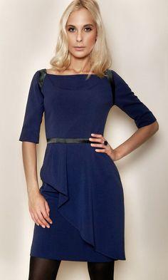 Robe courte drapée crêpe bleu