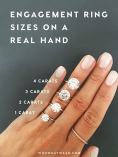 Different engagement rings - A SidebySide Carat Comparison of Different Engagement Ring Sizes – Different engagement rings Different Engagement Rings, Wedding Rings Solitaire, Engagement Ring Sizes, Beautiful Engagement Rings, Wedding Engagement, Wedding Bands, Solitare Engagement Ring, Engagement Pictures, Engagement Shoots