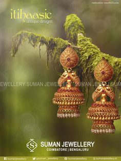 Gold Jewelry Buyers Near Me Gold Jhumka Earrings, Jewelry Design Earrings, Gold Earrings Designs, Gold Jewellery Design, Antique Earrings, Jhumka Designs, Jewellery Diy, Latest Jewellery, Gold Temple Jewellery