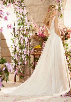 Mori Lee Bridal Madeline Gardner Deep V Back Soft Net Wedding Dress | Morilee