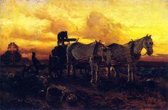 Mathias J. Alten - Gathering Pumpkins at Sunset,1907