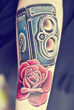 Rolleiflex Tattoo.... Part of a sleeve. by littleflowers132313, via Flickr