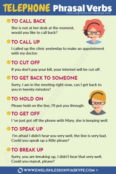 List of English Telephone Phrasal Verbs – English Lesson via Skype Telephone Phrasal Verbs. Learn English phrasal verbs in context. Improve English Speaking, English Learning Spoken, Teaching English Grammar, English Writing Skills, English Vocabulary Words, Learn English Words, English Idioms, English Phrases, English Language Learning