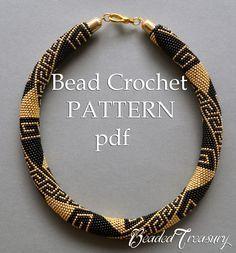"""Greek Meanders"" bead crochet pattern by BeadedTreasury."