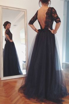 Maxi Black Open Back Lace Evening Gowns Prom Dresses 2017 New Arrival Long Sleeves Ball Gown Prom Dress,Fashion Mother of the Bridal Dresses
