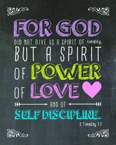 2 Timothy 1:7 Chalkboard Printable by DaintyPrintables on Etsy