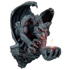 Whitechapel Gargoyle Wall Candleholder at Gothic Plus - Gothic Clothing, Jewelry, Goth Shoes & Boots & Home Decor Wall Sculptures, Lion Sculpture, Gothic Gargoyles, Gargoyle Tattoo, Dark Knight Armory, Ange Demon, Candle Holder Decor, Modelos 3d, Gothic House