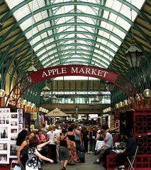 The Apple market, located in the Covent Garden, is a great place to find loads of hand-made british goodies including art and jewelry.  Happy Shopping!