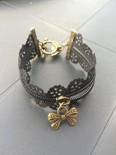 Bracelet fermeture éclair noire ou blanche