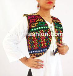 indian mirror work koti-traditional banjara gypsy jacket koti Vintage Embroidery, Learn Embroidery, Embroidery Patterns, Hand Embroidery, Jacket Style, Vest Jacket, Dandiya Dress, Indian Jackets, Stylish Dresses