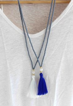 DIY Jewelry: Long Beaded Necklace Grey and White Necklace by lizaslittlethings $30.00