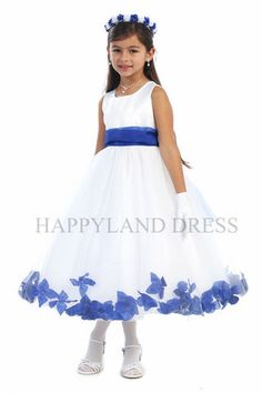 D2570 White Dress with Flower Petals and Sash (26 Diff. Colors)