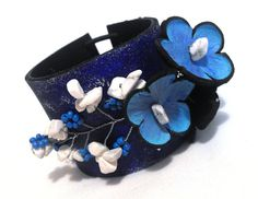 SALE Blue leather bracelet. Flowers leather cuff bracelet made from leather