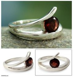 Handcrafted Modern Sterling Silver Solitaire Garnet Ring - Circle of Love | NOVICA