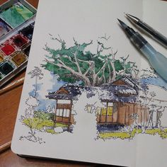 Watercolour and Pen, detailed yet simple. Copic Drawings, Drawing Sketches, Art Drawings, Sketch Art, Sketchbook Inspiration, Moleskine Sketchbook, Sketchbooks, Building Art, Watercolor Sketch