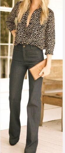 Here is a great business casual look for the office. We suggest layering a camisole underneath the blouse for a more professional look. What do you think?