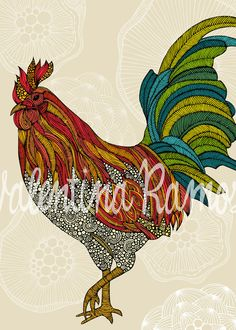 I LOVE Roosters! Illustration by Valentina Ramos. #rooster #Illustration #art #ValentinaDesign #ValentinaRamos