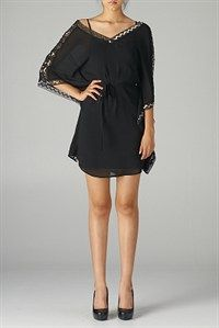 $60.00 quarter sleeve cocktail dress sheer layered design....